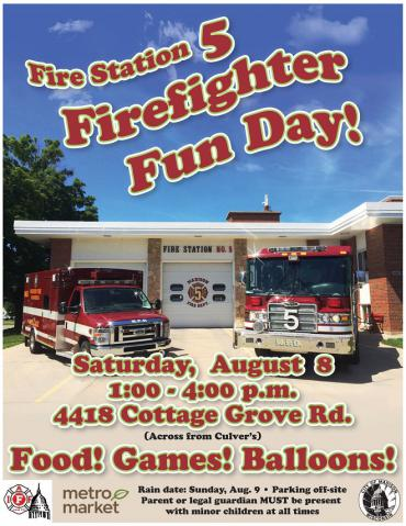 Firefighter Fun Day poster - English language