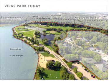 vilas park aerial map with amenities