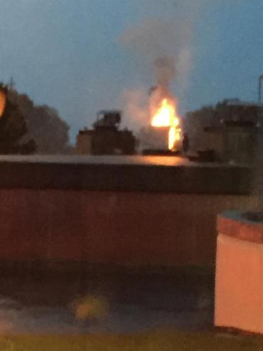 Rooftop flames