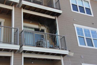 Balcony fire damage