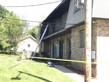 Building on E. Karstens Drive with fire damage