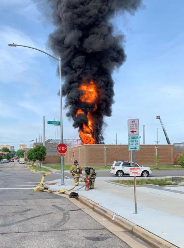 Large plume of flames and smoke at MGE substation