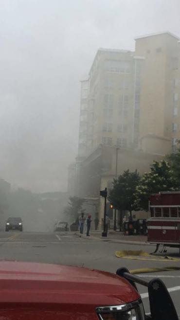 Smoke filling Pinckney Street