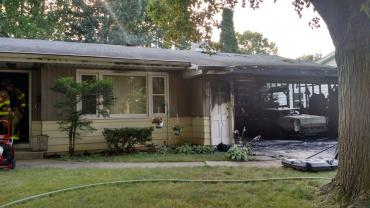 Extensive damage as a result of a garage fire.