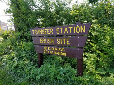 The sign for the transfer station at 121 E. Olin Ave where residents can get limited amounts of mulch for free starting June 5.