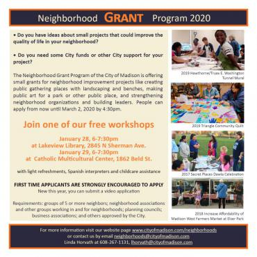 Grant Workshops: Lakeview Library Jan. 28 and Catholic Multicultural Center Jan. 29