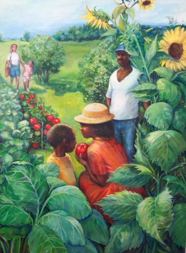 Collard Greens, Tomatoes and Sunflowers by Linda Mathis-Rose