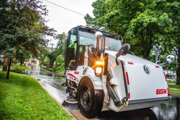 Street sweeper working earlier this year