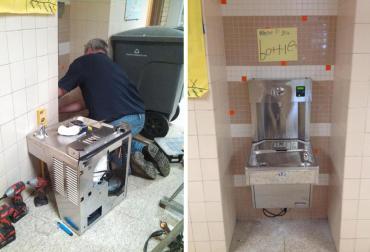 Bottle refilling station being installed at Elvehjem Elementary