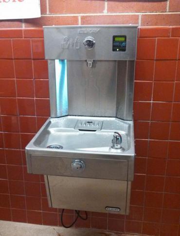 Bottle refilling station at Leopold Elementary