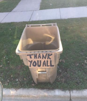 Thank you on a refuse cart