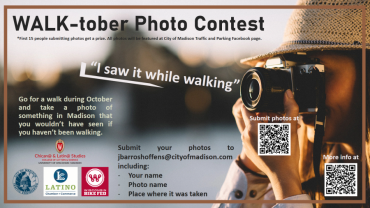 Image of a person holding a camera.  The poster talks about the photo contest that is part of Walk-tober.