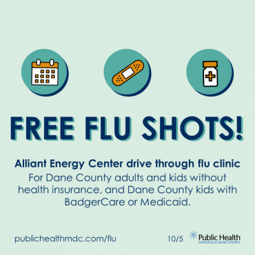 A graphic that says Free Flu Shots and lists who qualifies