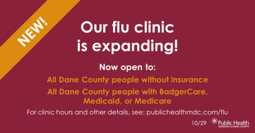 A graphic that says Our flu clinic is expanding with details on eligibility