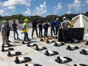 The crew installed on the top of an Emergency Operations Center in Puerto Rico.