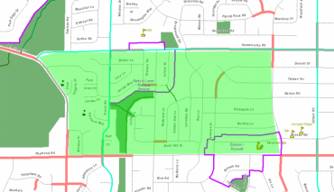 Image with green box highlighting streets in Hammersly_Theresa neighborhood for 20 is Plenty program
