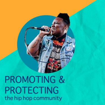 """Image of performer with mic with the words """"Promoting & Protecting the hip hop community"""" underneath the image"""