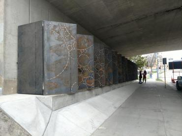 Installation image of steel panels installed for the public Art installati