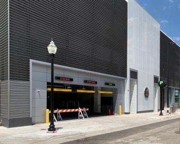 Wilson Street Garage main entrance at 20 E. Wilson Street