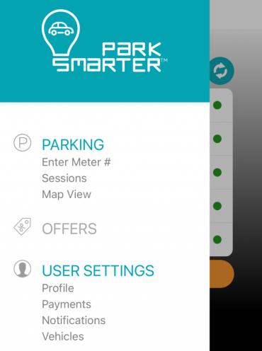 Image of screen in Park Smarter App