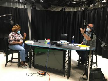 Earnestine Moss and Thomas Lund recording a podcast episode.