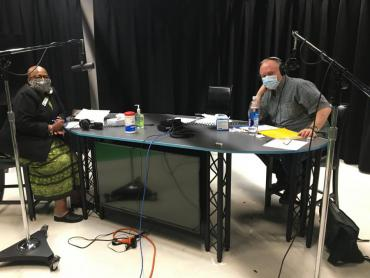 Ald. Harrington-McKinney and Thomas Lund recording a podcast episode.