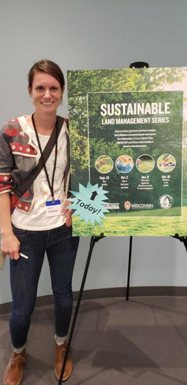 Dumas also presents on a number of topics she covers, including rain gardens. Dumas presented at American Family in September 2019 as part of the company's sustainable land management series.
