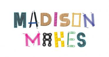 A logo of Madison Makes, the letters are spelled using various craft supplies, legos, gears.