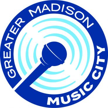 Greater Madison Music City Logo  showing a mic with concentric circles around it.