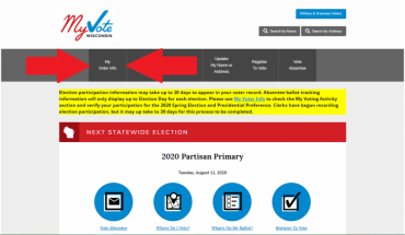 Webpage showing the button voters should click on the MyVote Wisconsin website to register to vote