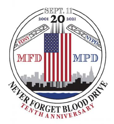 'Never Forget' Blood Drive logo