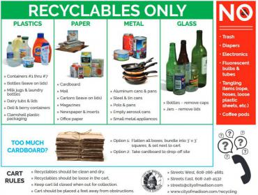 Make sure only recyclables are going into the recycling cart - including most kinds of wrapping paper