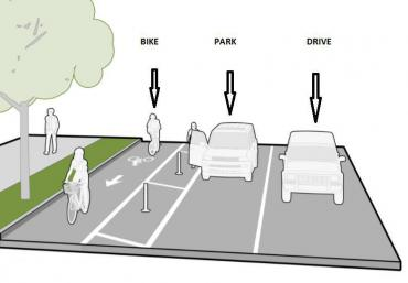 Parking-Protected Bike Lane infographic