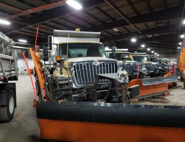 Streets Division plow trucks ready to go