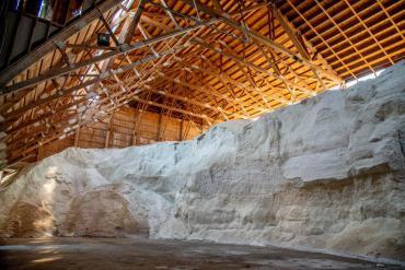 Salt in a salt shed