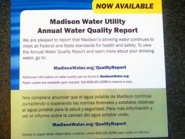 Water Quality Report annoucnement postcard