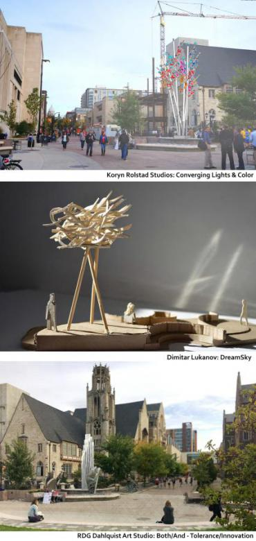 Design concept and maquette images of the three proposals for a new public art piece at the 700 & 800 block of State St.