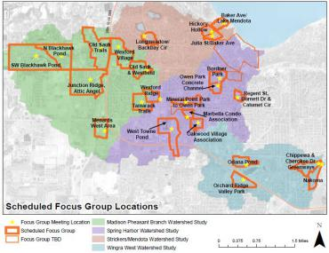 This map shows locations of focus group meetings across the Madison area.