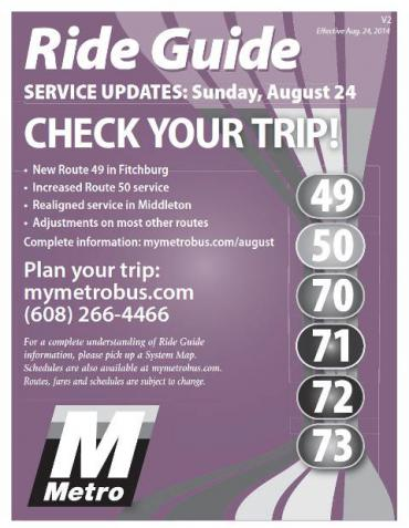Metro Ride Guide Effective Sunday, August 24