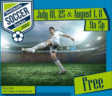 Poster for soccer at Penn Park, man kicking soccer ball