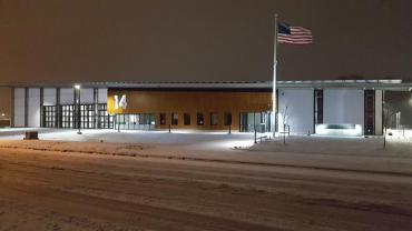 Fire Station 14 at night