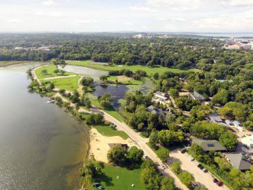 aerial image vilas park showing beach, shelter