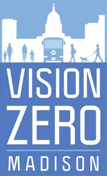Blue and white image of Vision Zero logo