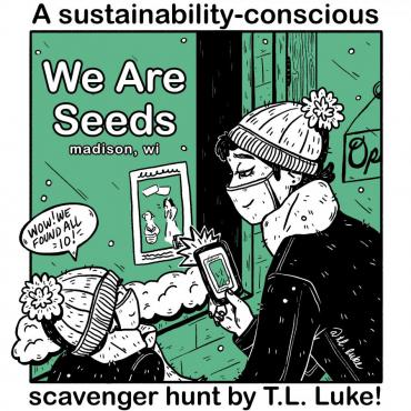 Artist TL Luke creates beautiful illustrations for a scavenger hunt that supports small madison businesses