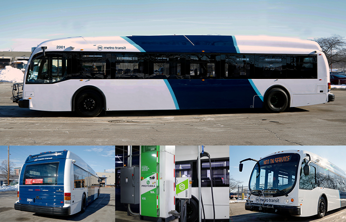 Pictures of Metro's electric buses and charging equipment