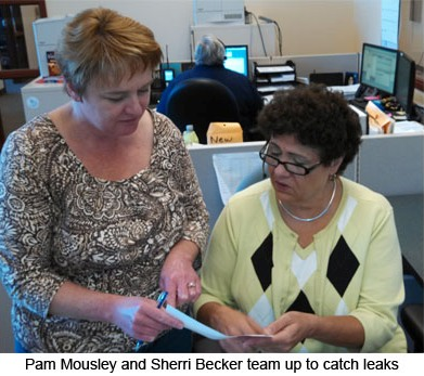 Pam Mousley and Sherry Beccker team up to catch leaks