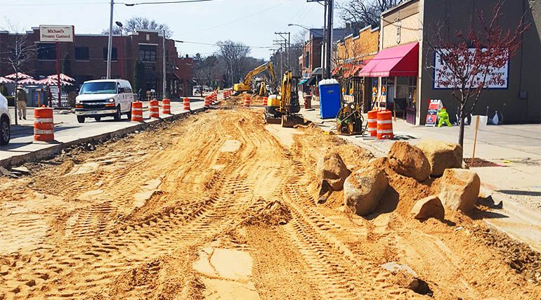 Monroe St. under construction