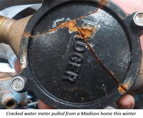 Cracked meter pulled from basement of a Madison home
