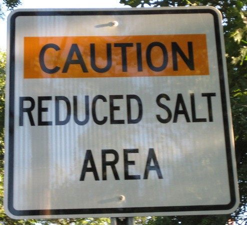 Caution reduced salt area sign